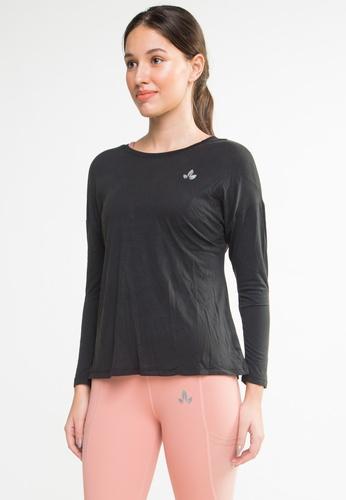 Lotus Activewear black Norah Long Sleeve Open Back Top 94C7CAAE0E61CDGS_1