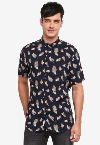 River Island navy Short Sleeve Navy Feather Shirt CD8F5AA5612B34GS_1
