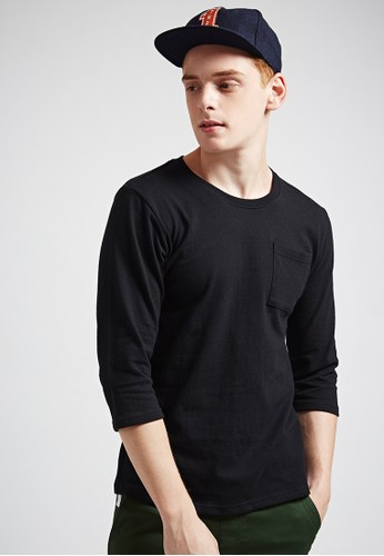百搭街頭。純棉重磅430克esprit 中文。七分袖口袋圓領T-MIT-黑色, 服飾, 素色T恤