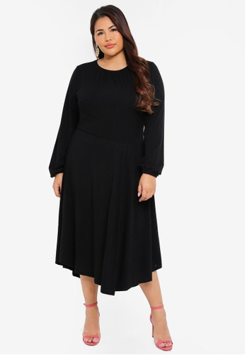LOST INK PLUS black Plus Size Fit And Flare Dress With Asym F93A8AA8B493F5GS_1