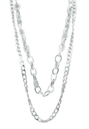 Red's Revenge silver Double Chain Link Long Necklace 867ECAC80D3372GS_1