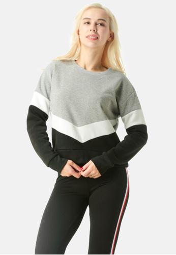 London Rag grey Color Block Sweatshirt AE960AAC16C42FGS_1
