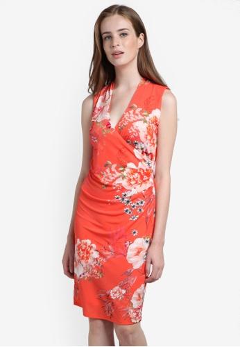 Wallis orange Coral Oriental Floral Wrap Dress WA800AA0RHDDMY_1