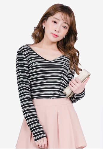 YOCO black V Neck Striped Top 33D02AA4C19478GS_1