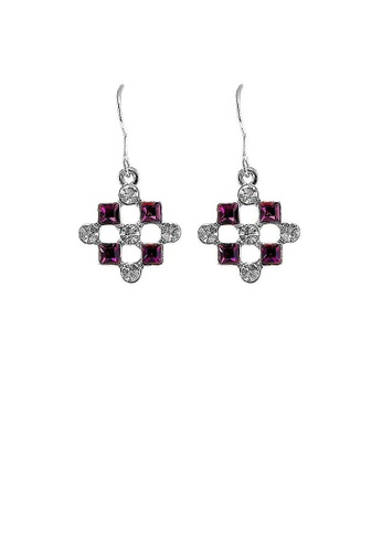Glamorousky purple Enchanting Earrings with Silver Austrian Element Crystal and Purple CZ 4C969AC33FE4C9GS_1