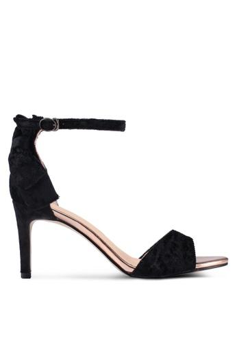 Something Borrowed black Velvet Strappy Heels 8FB87SH339DF22GS_1