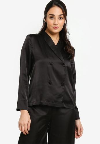 ZALORA BASICS 黑色 Lounge Satin Long Sleeve Shirt 27D9AAAF5DD364GS_1