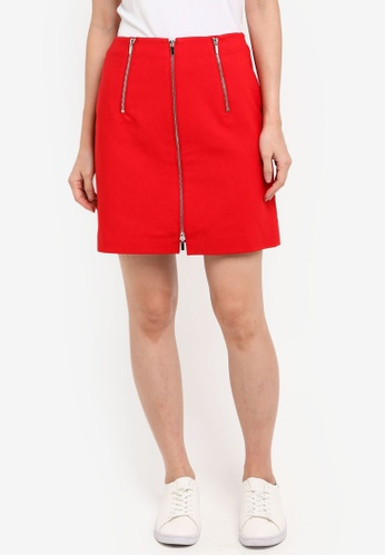 French Connection red Glass Stretch Zippy Mini Skirt 8EE23AA49B74FDGS_1