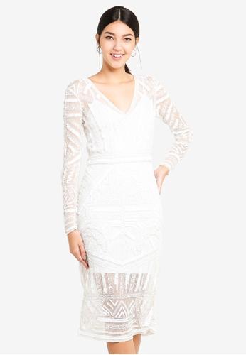 Miss Selfridge white Aztec Bead Midi Dress E41EFAAB5E53AAGS_1