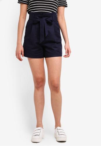 WAREHOUSE 海軍藍色 Compact Cotton Shorts 9B4E3AA3AAC488GS_1