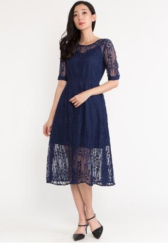 BEBEBUTTERFLY blue BebeButterfly Lace Semi-Transparent Evening Midi Dinner Dress 1251DAA050B2E7GS_1