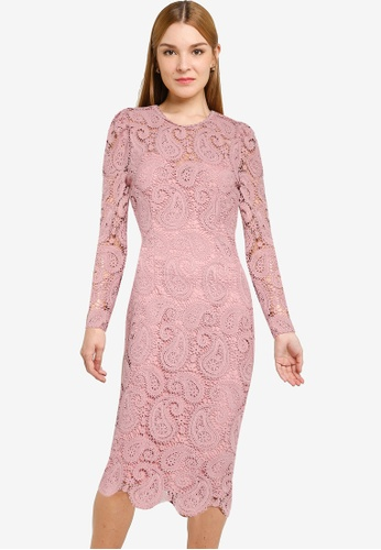 Little Mistress pink Blush Lace Midi Dress CDAC0AA2FF9046GS_1