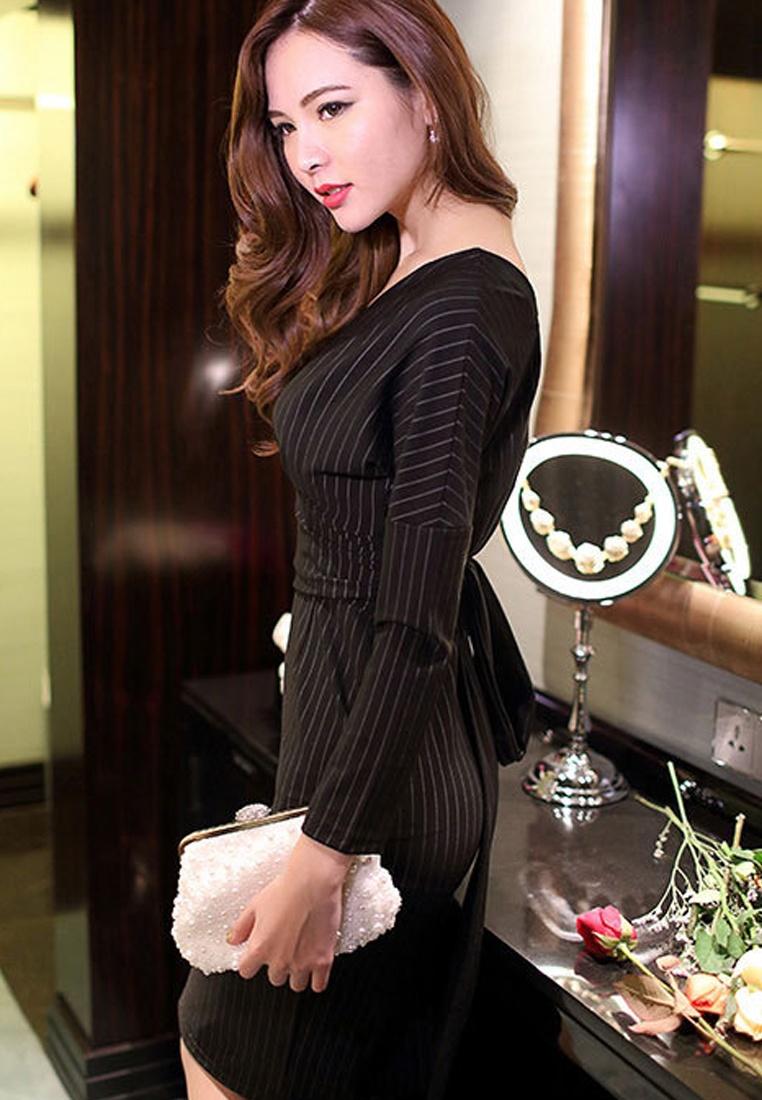 Stripes Black V 2017Vertical Sunnydaysweety DressUA102318 neckline vpF6qwA