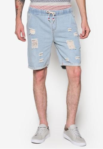 Feliz 反折褲腳刷破esprit地址丹寧短褲, 服飾, 短褲