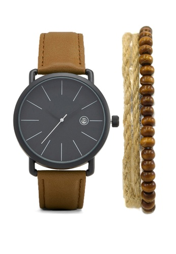 LEUPP black and brown Watch and Bracelet pack - Muyo with Bracelet TO983AC18PFTPH_1