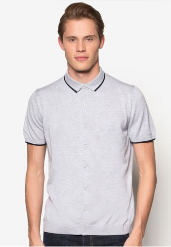 Burton Menswear London grey Short Sleeve Knitted Grey Polo Shirt BU964AA33KOCMY_1