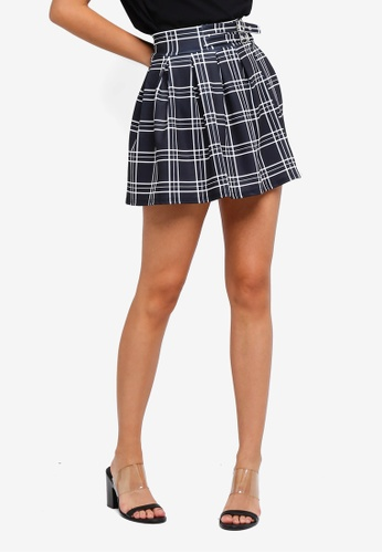 MISSGUIDED 黑色 格紋褶飾短裙 3E164AA8ACB9A3GS_1