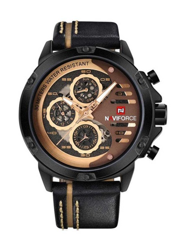 Naviforce gold Naviforce Black and Rose Gold Leather Watch DED18ACC1BDE17GS_1