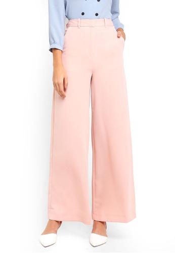 TOPSHOP pink High Waist Wide Leg Trousers C9367AA921A55DGS_1