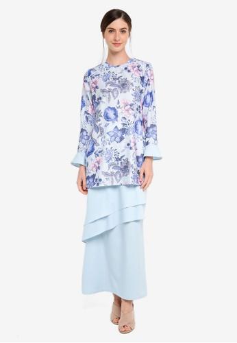 Gene Martino blue Kurung Modern Layer Skirt Set AB4D3AA0D136C0GS_1