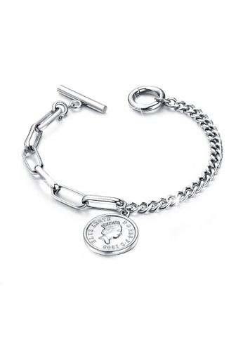 Bullion Gold gold BULLION GOLD Lucky Coin Charm Toggle Clasp Bracelet in White Gold Layered Steel Jewellery 6C465ACD362D54GS_1