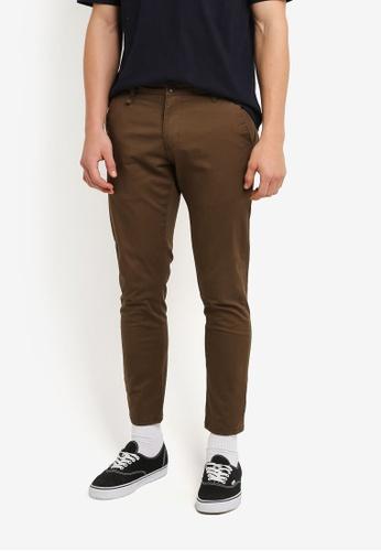 Sparrow Green brown Paavo Field Slim Dress Pants SP065AA0RUBUMY_1