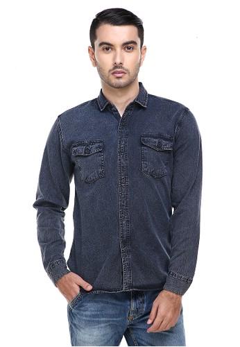 Hamlin black Hamlin Dwan Casual Shirt Baju Kemeja Jeans Pria Lengan Panjang Material Denim ORIGINAL AD930AA25A5592GS_1
