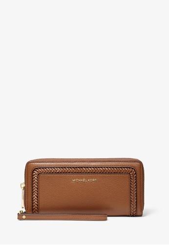 MICHAEL KORS brown Michael Kors Lexington Large Pebbled Leather Continental Wallet - Brown 6A6B1ACBE71BFBGS_1