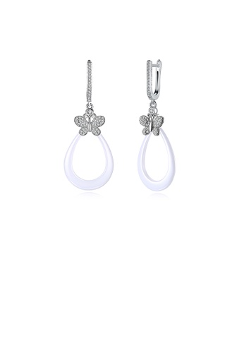 Glamorousky white 925 Sterling Silver Elegant Butterfly Earrings with Cubic Zircon 28B7EAC3C576E0GS_1