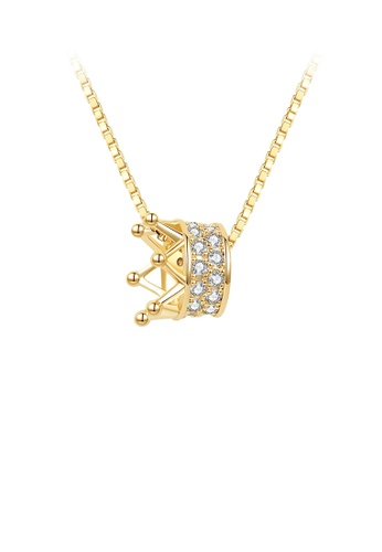 Glamorousky white 925 Sterling Silver Plated Gold Fashion Crown Pendant with Austrian Element Crystal and Necklace AFA4DACAC1314CGS_1
