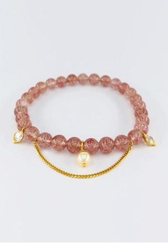 Arthesdam Jewellery gold Arthesdam Jewellery 916 Gold Dangling Stones Strawberry Quartz Bracelet F9B18ACBD8AF84GS_1