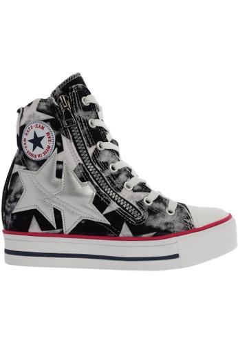 Maxstar black C2 30 7 Holes Denim Single Line White Platform High Top Sneakers MA164SH48CIHSG_1