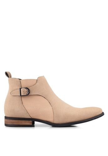 ZALORA brown Faux Leather Chelsea Boots With Side Buckle 386C8AA89AFEE6GS_1