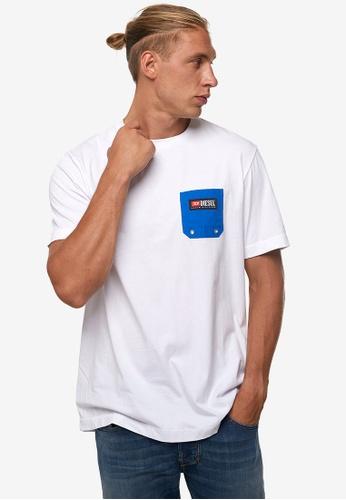 Diesel white BMOWT-JUST-B MAGLIETTA T-Shirt 9933AAA5D9D79FGS_1