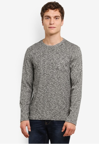 Burton Menswear London grey Long Sleeve Texture Crew T-Shirt BU964AA0RULHMY_1