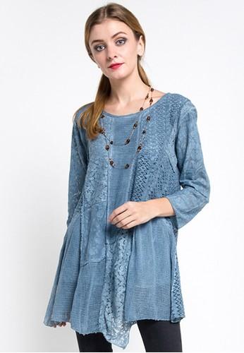 Wakhra Swag blue Beatrix Bohemian Patchwork Style Top - Blue 7DAAAAADE78A42GS_1