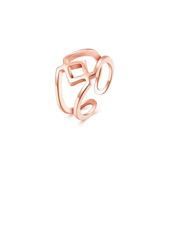Glamorousky silver Fashion Simply Plated Rose Gold Geometric Adjustable Split Ring 22C3DACB5D52E0GS_1