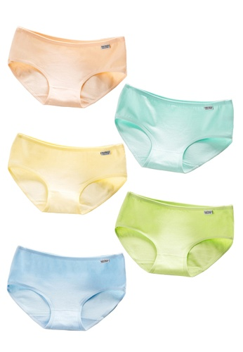 b739a69c73f YSoCool yellow and green and blue and beige 5 Pcs Women Girls Cotton Candy  Underwear 0C3F1USF8236E4GS 1