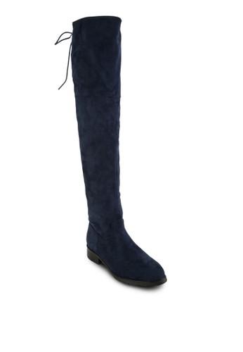 人zalora 台灣門市造麂皮繫帶過膝長筒靴, 女鞋, 靴子