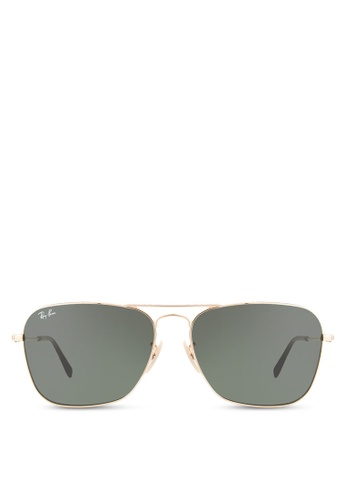 Ray-Ban gold Caravan RB3136 Sunglasses RA896GL27CXGMY_1