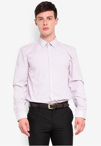 Burton Menswear London 粉紅色 印花襯衫 E0A8BAADBC954EGS_1