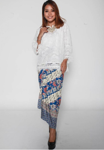 Naphthys Collection white and red and blue and multi Batik Skirt/Sarong 57B0AAAF850941GS_1