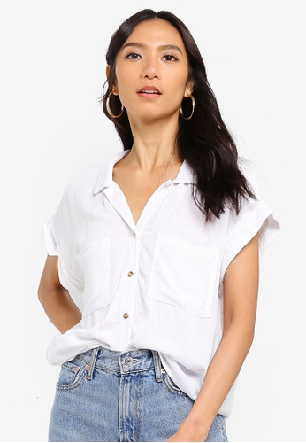 Cotton On white Emily Chopped Short Sleeve Shirt CE7B9AA848F318GS_1