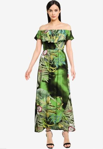 Desigual green Off Shoulder Midi Dress 80D49AAD20F14AGS_1