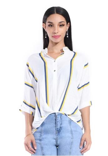 Hernani white and yellow Batwing Front Button Shirt 3E32EAAC50B2D0GS_1