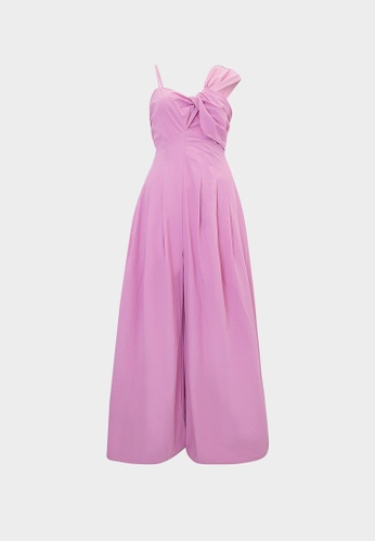 Pomelo purple Knotted Accent Wide Leg Jumpsuit - Purple E1341AAF158558GS_1