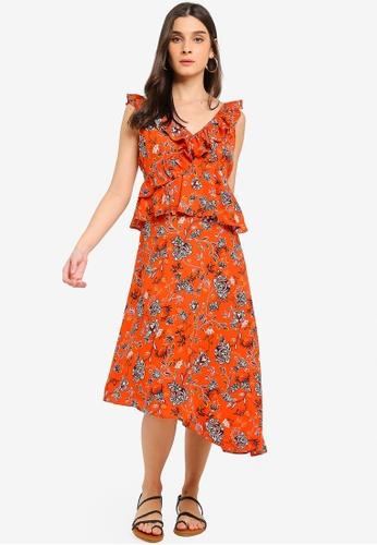 Glamorous orange Ruffled Floral Print Midi Dress 5915BAA5360346GS_1