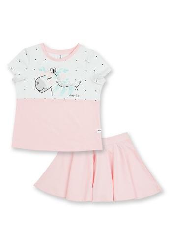 MOOSE GIRL white and pink Printed Blouse with Skirt Set 242C0KA9824B68GS_1