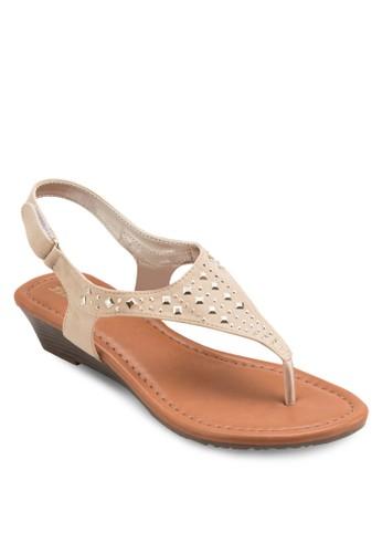 鉚釘繞esprit台灣踝涼鞋, 女鞋, 楔形涼鞋