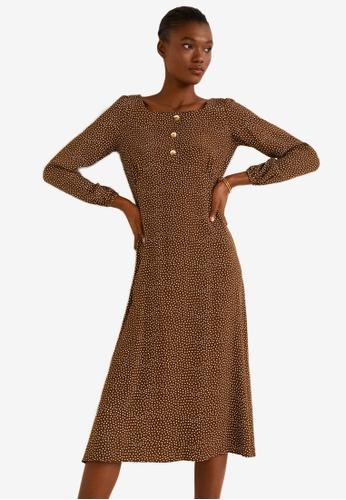 Mango 褐色 圓點洋裝 83003AA2C04C91GS_1